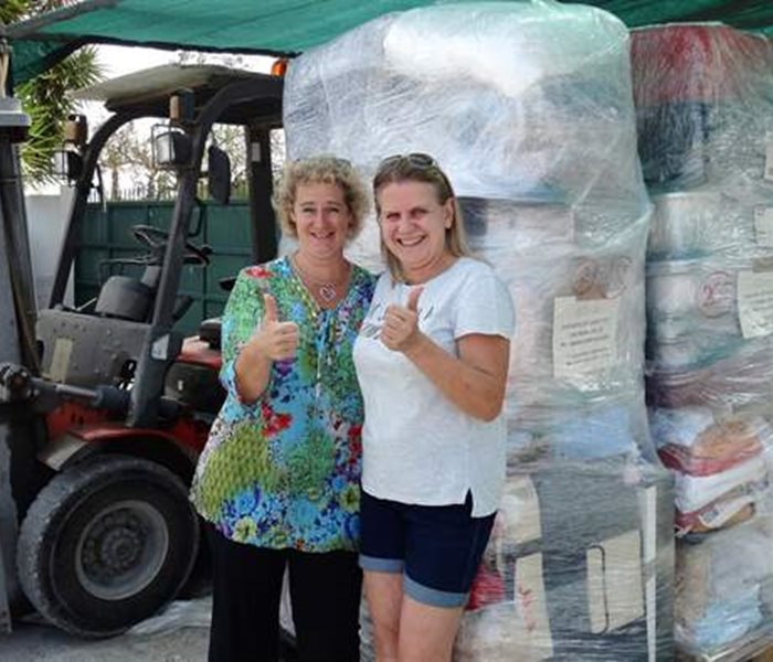 Two pallets of material donations for Carvoeiro Cat Charity